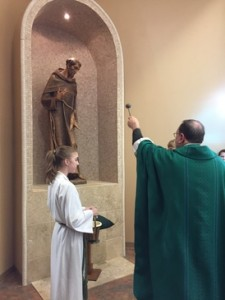October 9-Blessing of St. Francis Statue in the niche and Blessing of the Bells